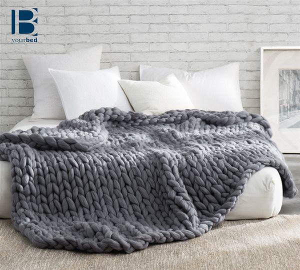 Pure Australian Woolen Blanket Chunky Knit Oversized Bedding Alloy Woollen Blankets Bed Blanket Beautiful Bedding