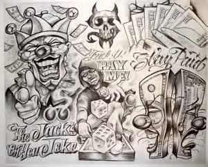 Image Result For Boogs Clown Tattoo Flash Boog Tattoo Chicano Art Tattoos Money Tattoo