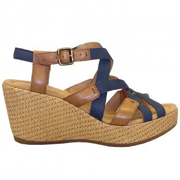 5e0d13a30fb Plover raffia effect wedge sandals in navy