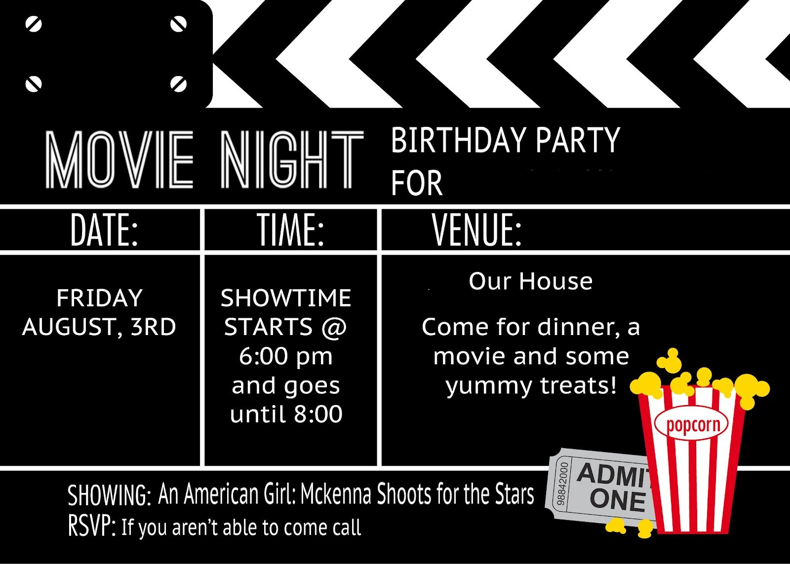 Classic Movie Birthday Party  Movie ticket invitations, Movie