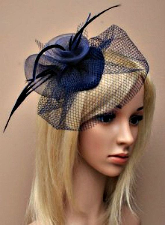 Navy blue fascinator with feather tendrils beautiful for wedding prom Ascot