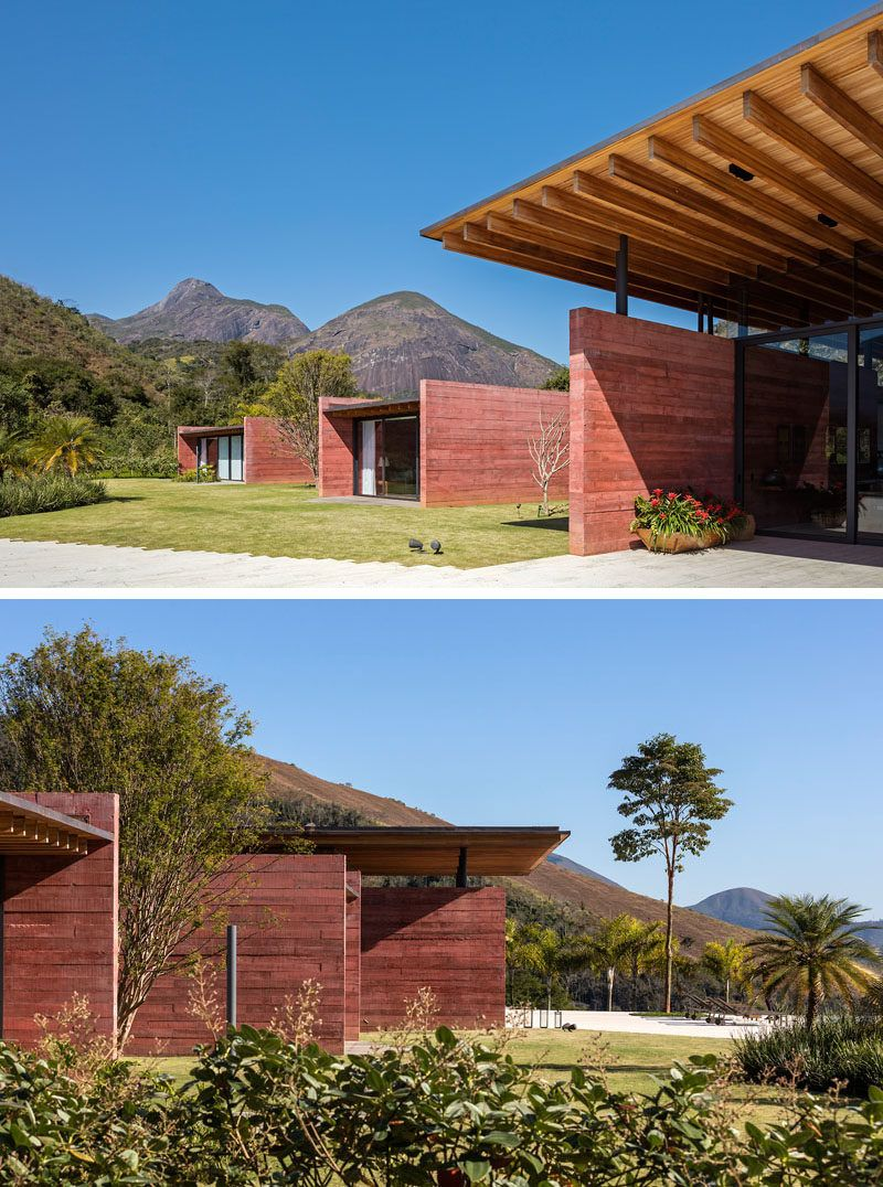 This Brazilian House Features Pigmented Concrete Walls And An Expansive Floating Roof Wood Roof Roof Architecture Concrete Wall
