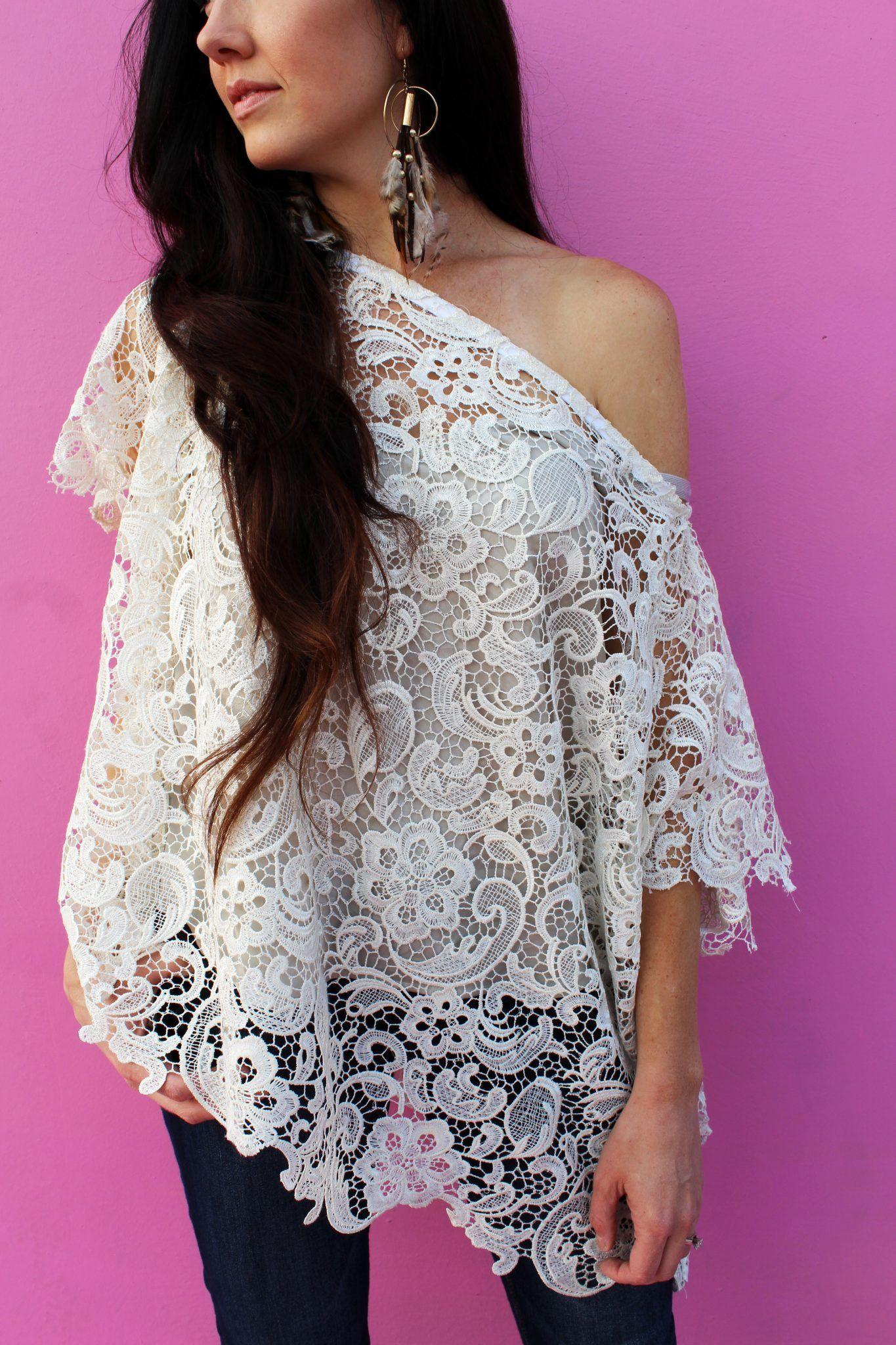 DIY This Easy Boho Off Shoulder Top | Diy lace shirt, Diy ...