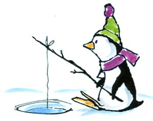 This little guy, with his scarf and hat,  is patiently waiting at his fishing hole in the ice.