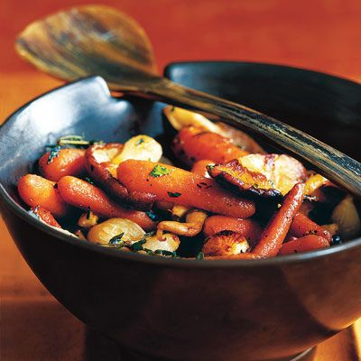 Roasted Carrots, Pearl Onions, and Wild Mushrooms with Tarragon