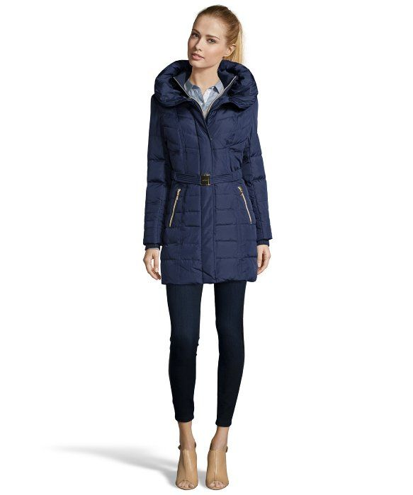 a2d37e3fe Kensie navy belted and hooded 3/4 down jacket | Style | Fashion ...