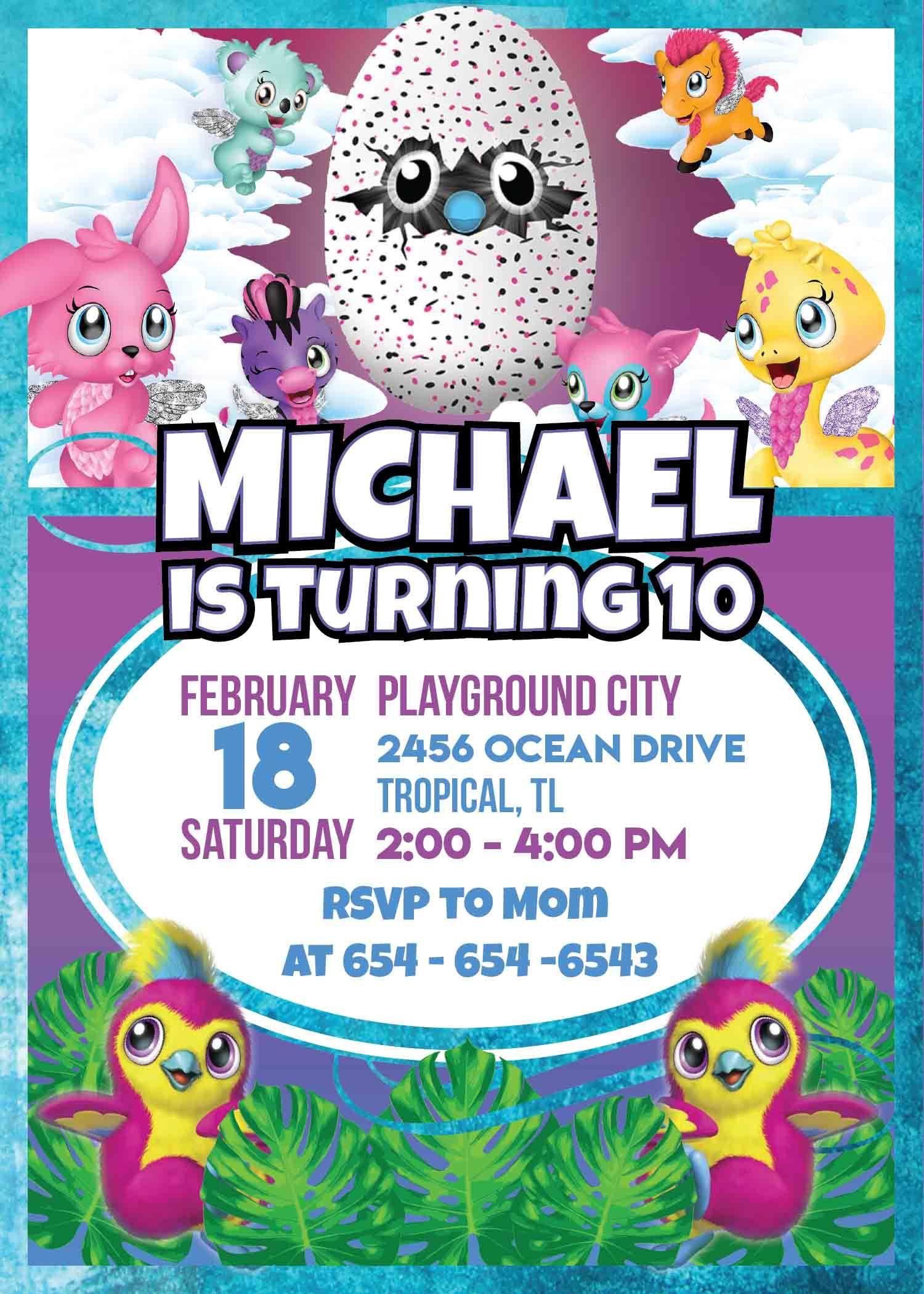 Hatchimal Birthday Invitations In 2019