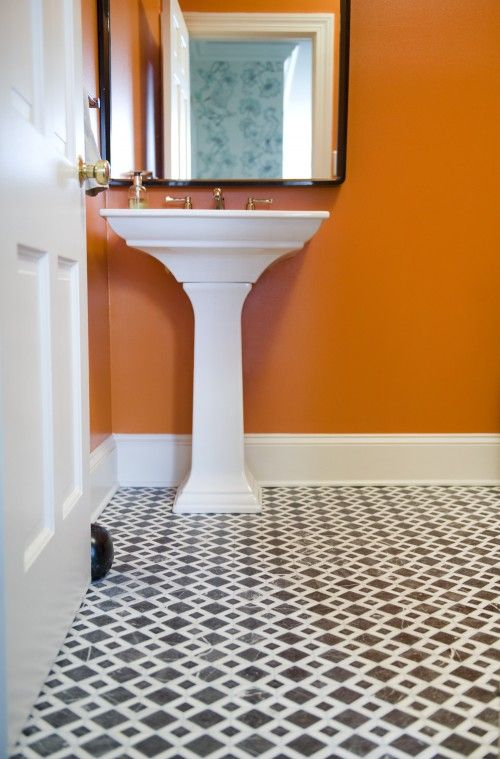 Downstairs bath idea--love the orange!