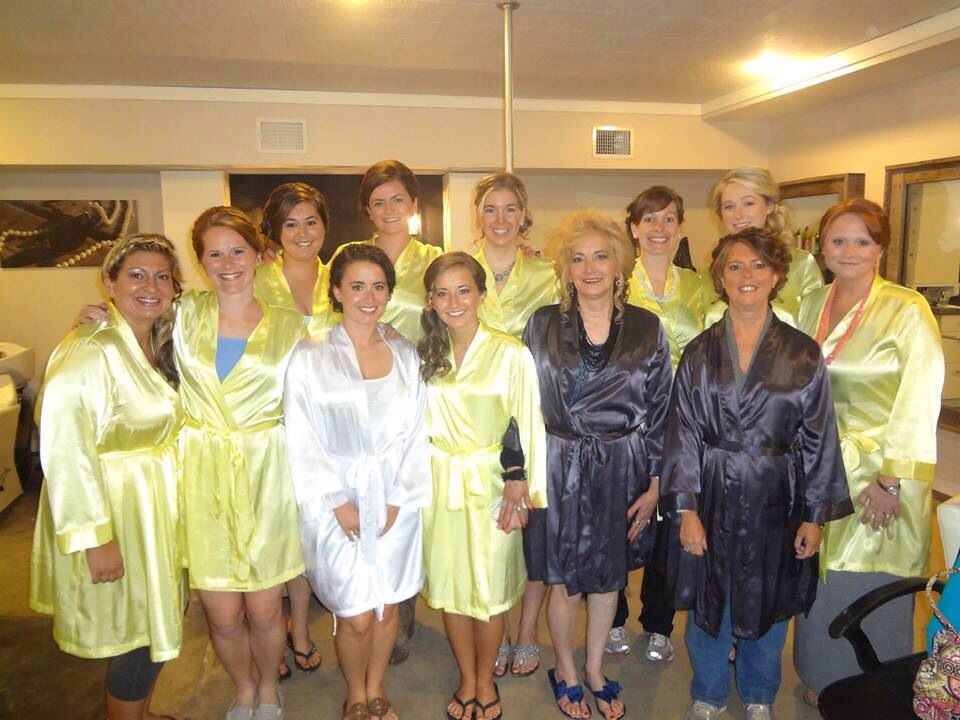 Us girls getting ready! Robes and mimosas!