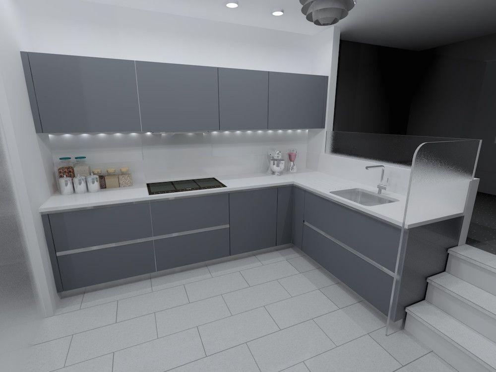 matt lacquer mouse grey kitchen design | interior - kitchen