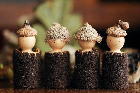 Waldorf acorn nature table peg dolls by BasketofTeenim on Etsy