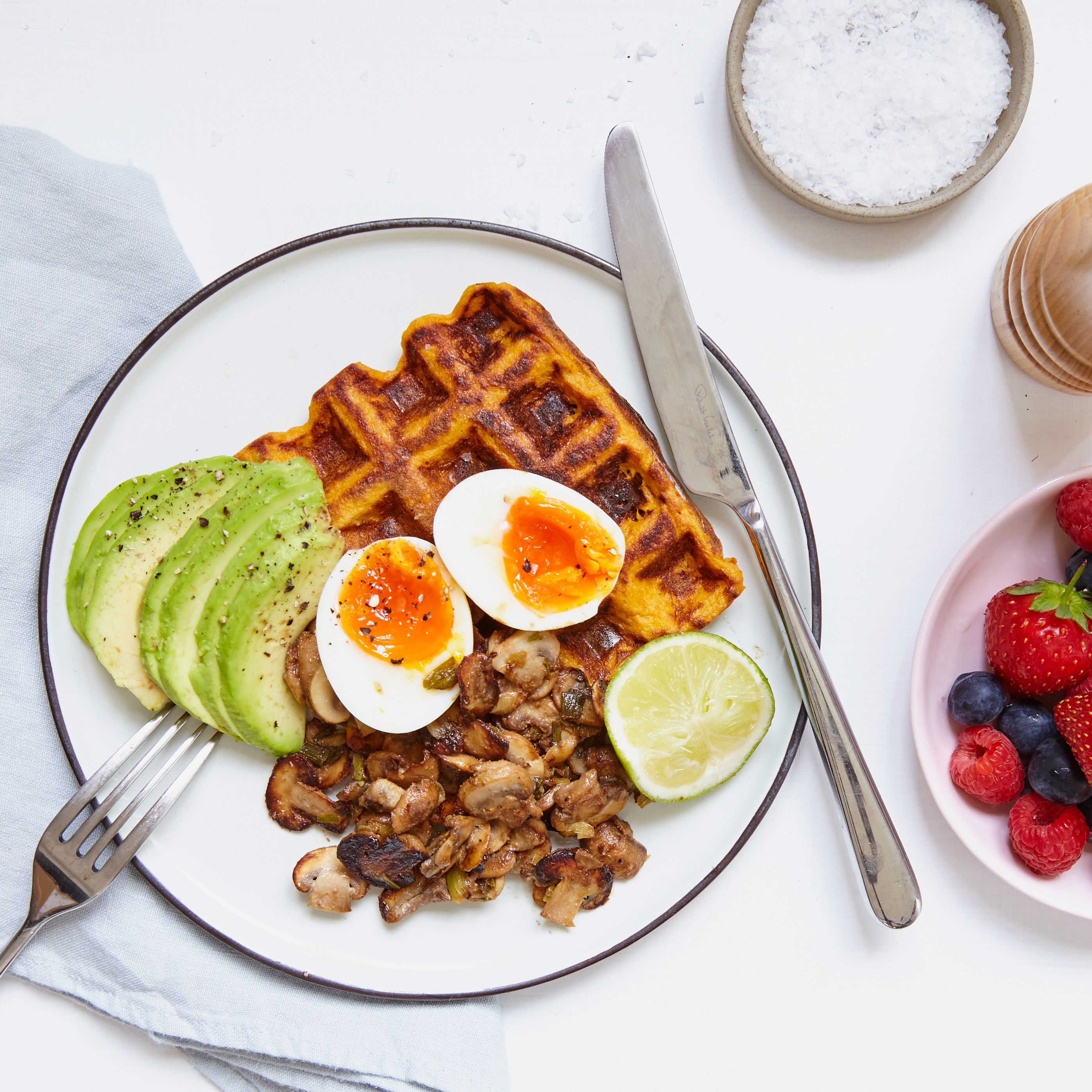 These delicious & nutritious savoury waffles are served with miso mushrooms, avocado and boiled eggs. Packed full of omega 3, protein and everything GOOD. Made exclusively by Madeleine Shaw.