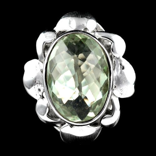 MARVELOUS! NATURAL OVAL CUT  GREEN AMETHYST 925 SILVER HANDMADE RING SIZE- 7.25# #Handmade