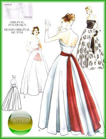 Vintage Model 1950 Strapless Gown Patterns