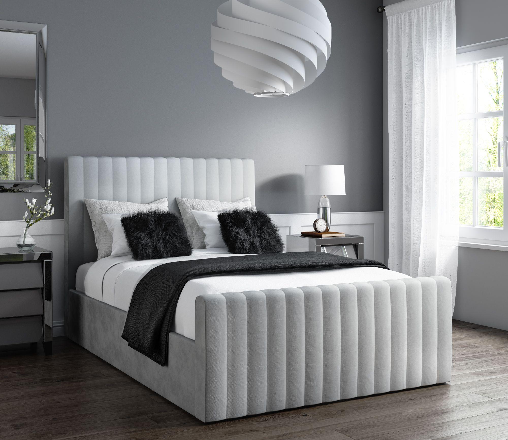 Grey Velvet Side Ottoman Storage Bed Grey Bed Frame Ottoman Bed Bed