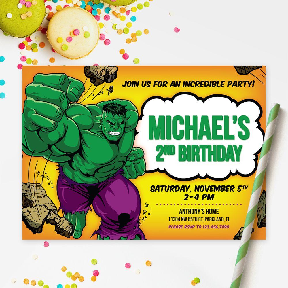 Hulk Invitation The Incrediblehulk Printable Kids Invitation Superheroes Birthday Party Invitation Re Kids Invitations Hulk Party Birthday Party Printables