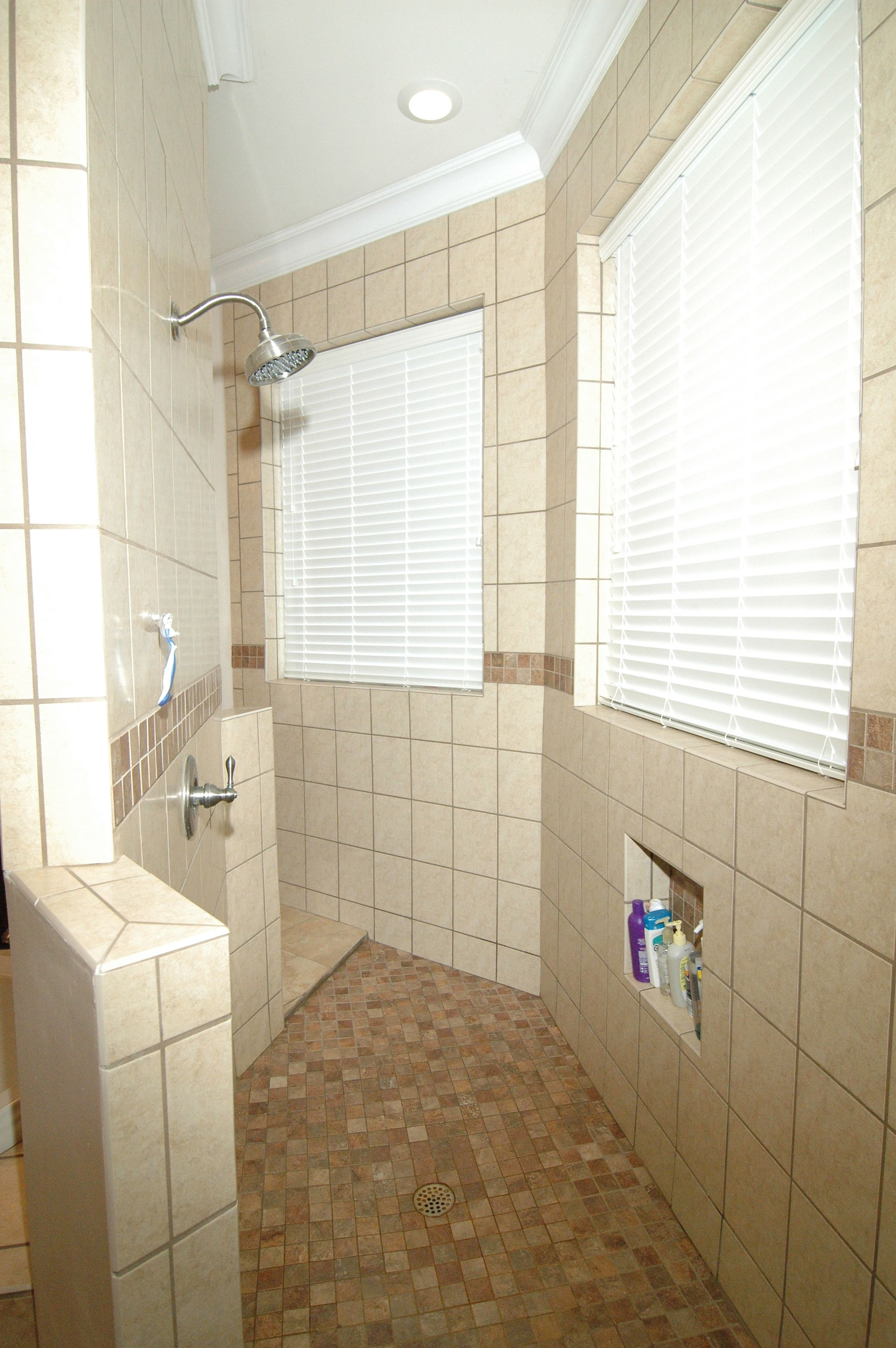 Double Entry Custom Shower With No Doors