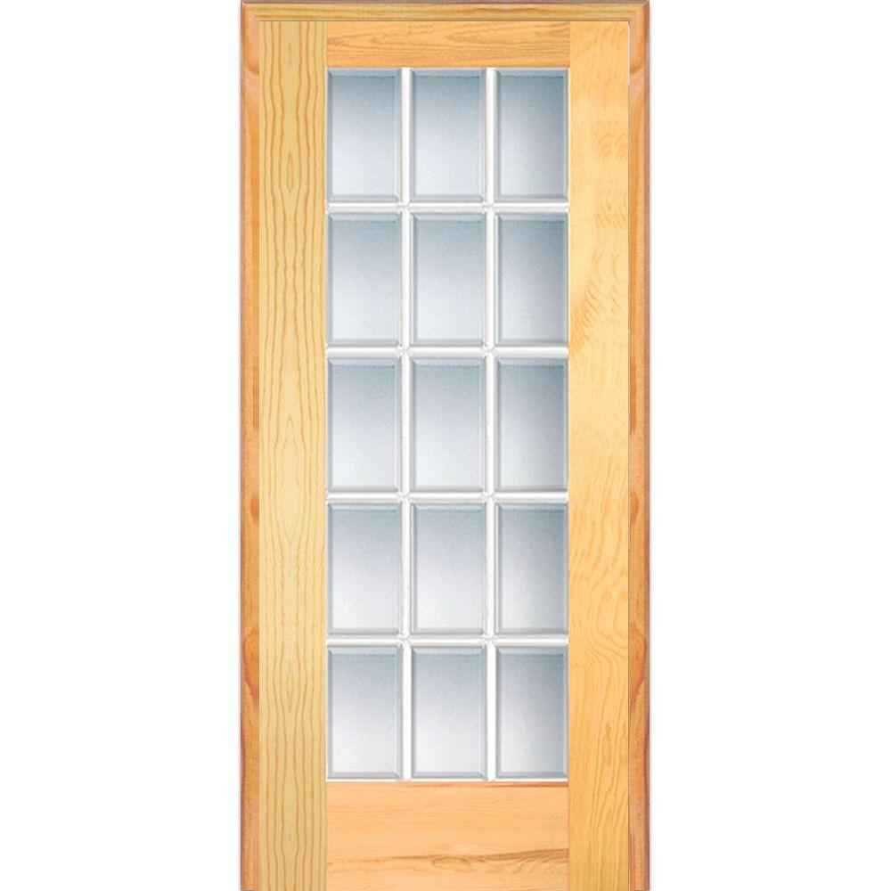 Mmi Door 32 In X 80 In Left Handed Unfinished Pine Wood Clear Glass 15 Lite Beveled Single Prehung Prehung Interior Doors Glass French Doors Glass Barn Doors