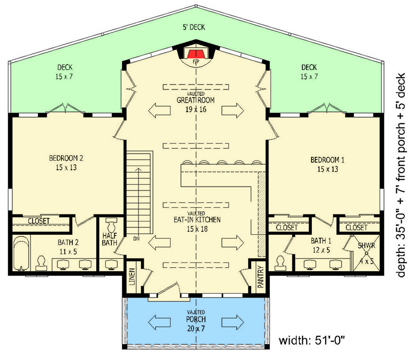 Plan 68444vr Vacation House Plan With Fully Finished Lower Level Vacation House Plans Lake House Plans Retirement House Plans