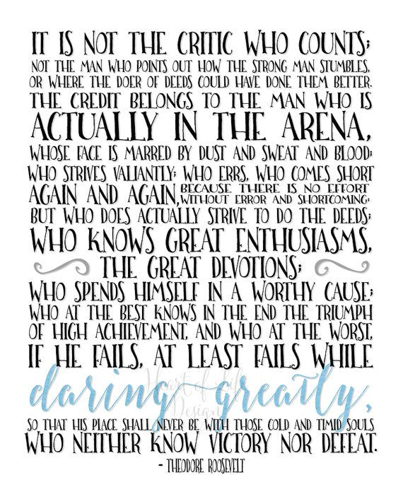 Printable Art The Man In The Arena Quote Print Theodore Roosevelt Quote Gift Idea Inspirational Office Quote Heart Of Life Design Inspirational Office Quotes Roosevelt Quotes Theodore Roosevelt Quotes