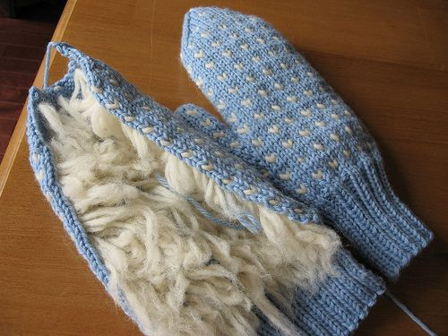 Thrummed Mitts Knitted Flat And Then Seamed Thrummed Mittens On 2