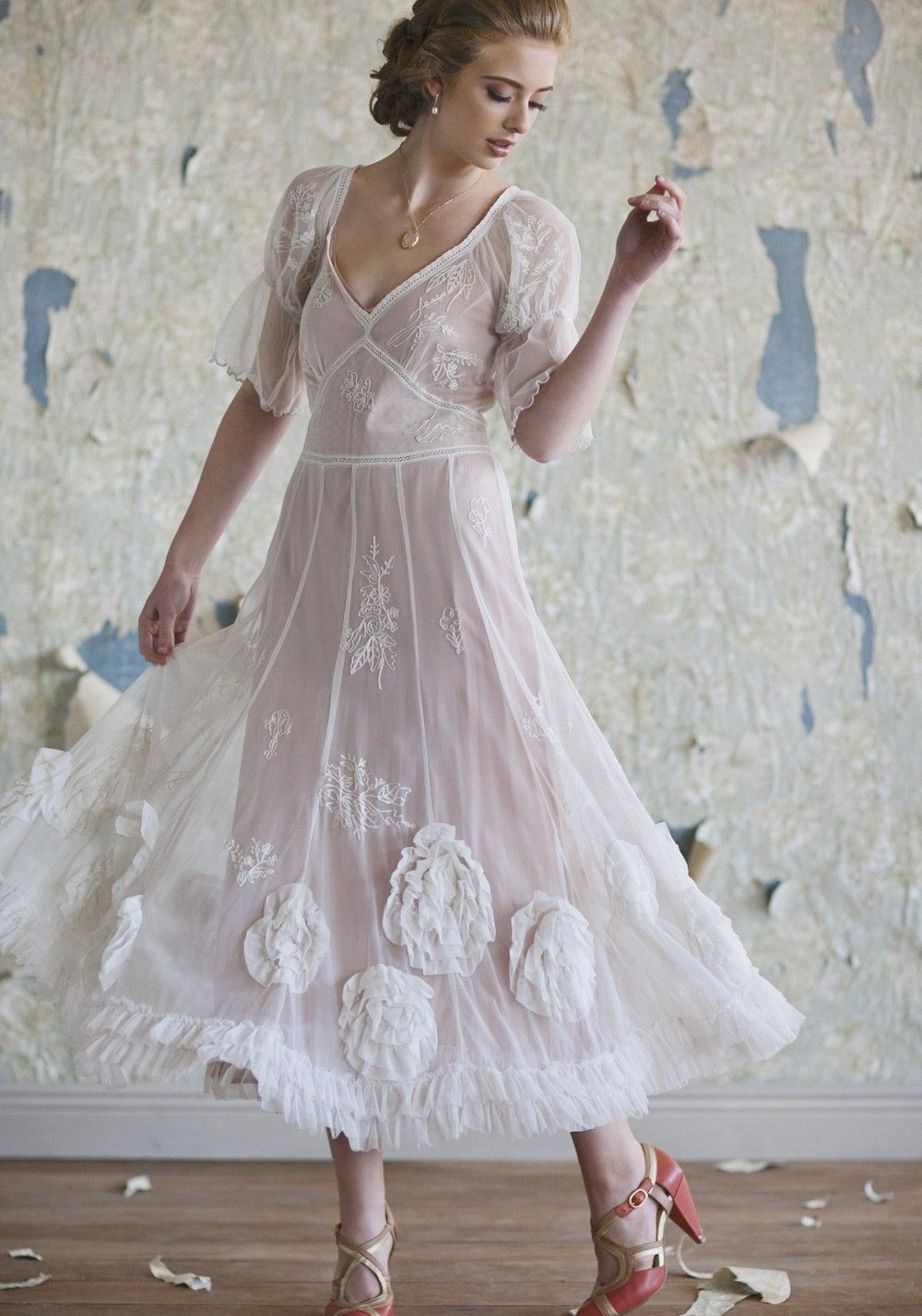 Claire rosette wedding dress vintage inspired bridal dresses and