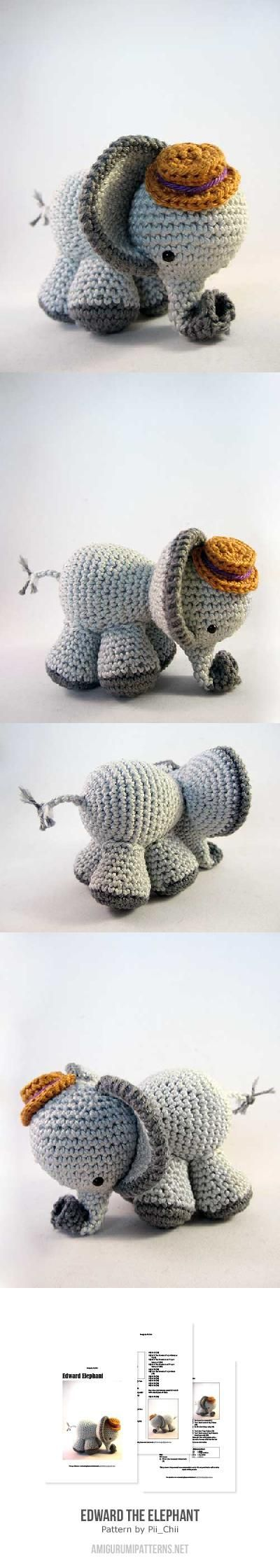 Edward the Elephant amigurumi pattern by Pii_Chii | Elefantes ...