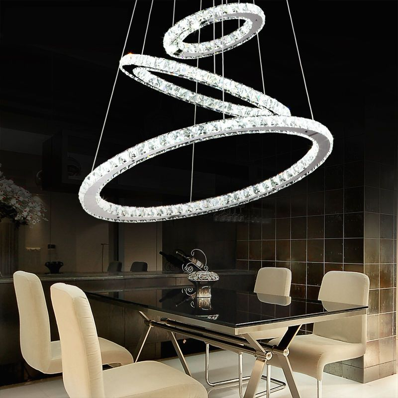 Details About Modern 3 Round Led Rings Crystal Chandelier Ceiling
