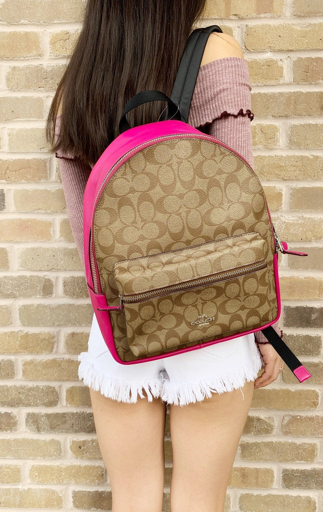 4701dddab99 Coach Medium Charlie Backapck Khaki Signature Pink Cerise F39510  Poshmark   toprated  amazonfashion  tradesyseller  Handbags  poshpackages  rated   GabysBags ...