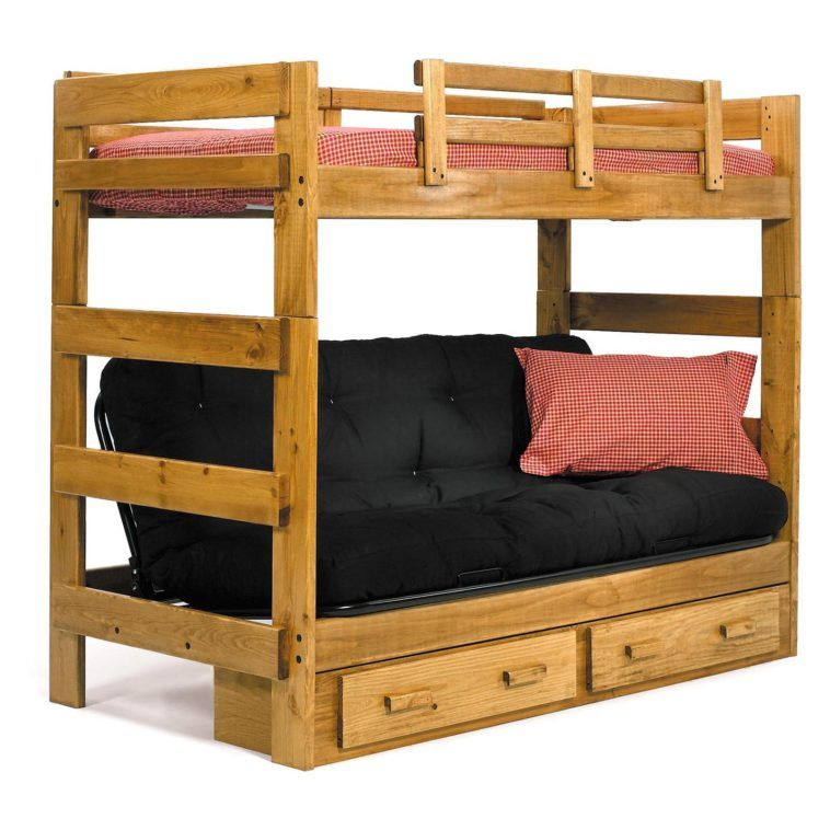 Wood Kids Bunk Bed With Storage Drawers Underneath And Black Futon Couch