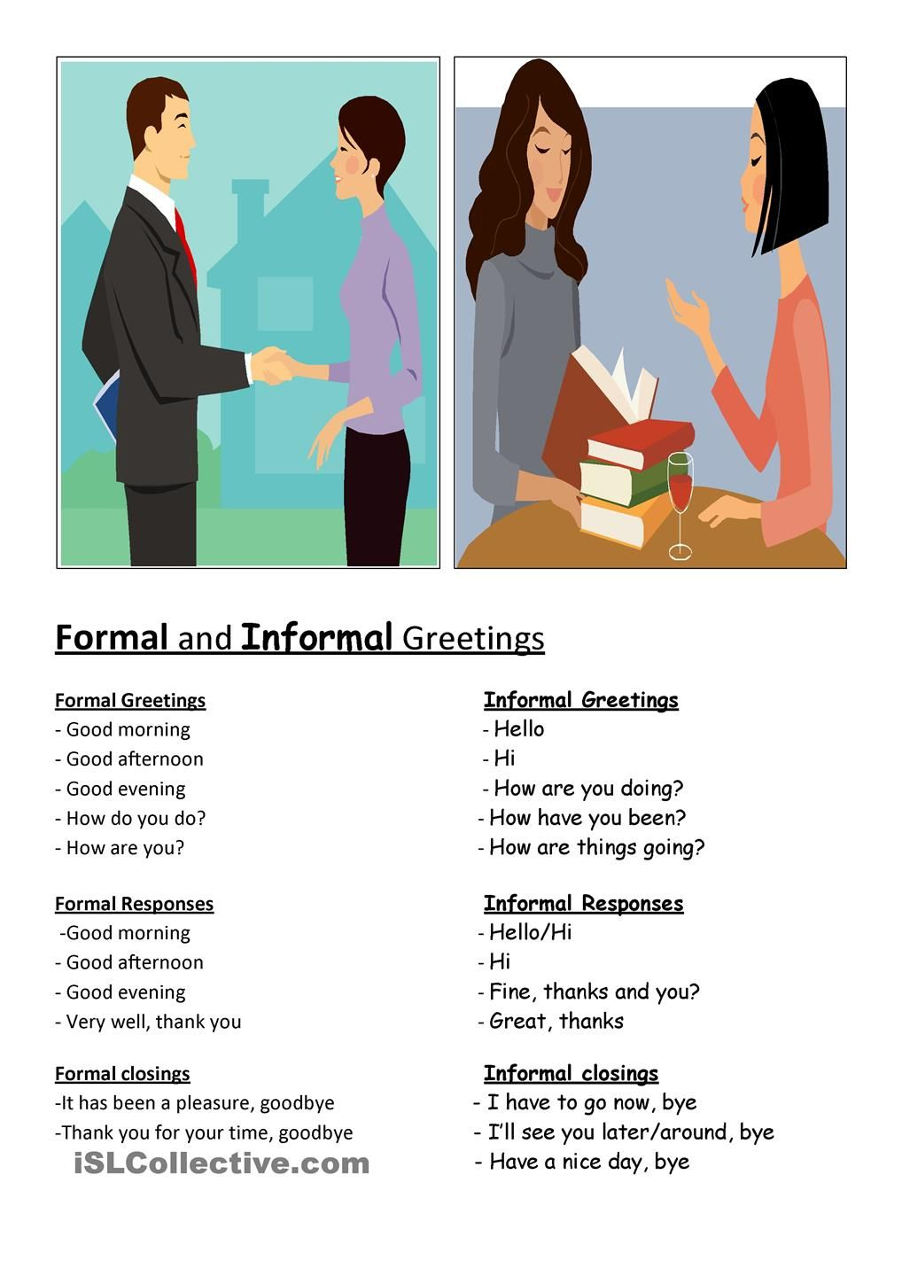 Formal Informal Greetings Education Pinterest English