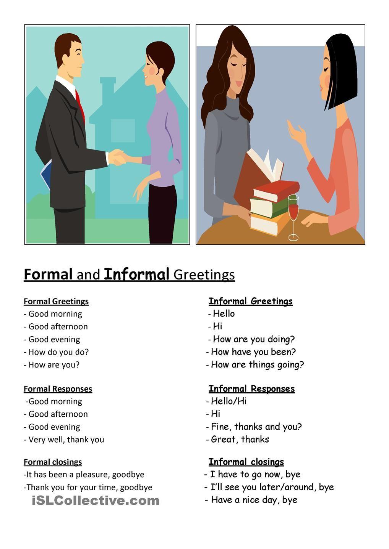 Formal & informal greetings (con imágenes) Vocabulario