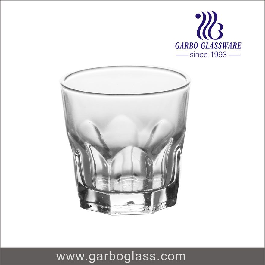 Pressed machine made glass tumbler, transparent glass tumbler for home using for water drinking