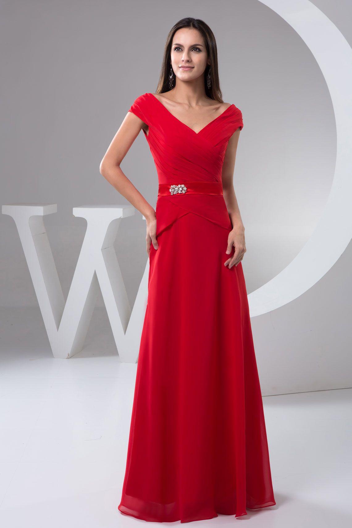 8103a3eb45f1 cap sleeve long red crystal zipper v-neck pleated evening dress -  Whoboxdress.com. Ravishing Red Floor-Length V-Neck A-Line Chiffon Sleeveless  ...