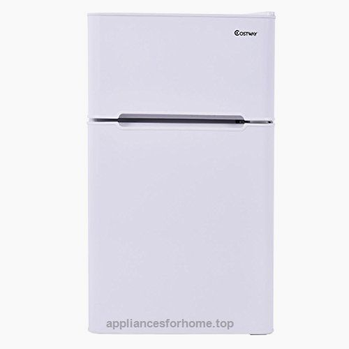 Costway 2 Door Apartment Size Refrigerator 3 2 Cu Ft Unit Stainless Steel Compact Small Freezer Apartment Size Refrigerator Compact Refrigerator Refrigerator