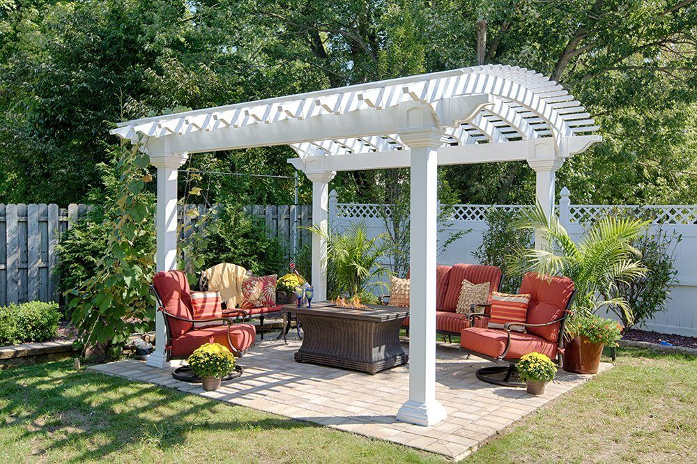 Beautiful Arched White Vinyl 10 X 14 Pergola Pergola Backyard Structures Vinyl Pergola