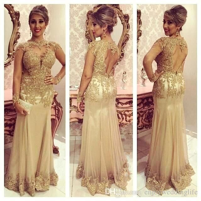 2016 Champagne Winter Long Sleeves Prom Dress Sheer High