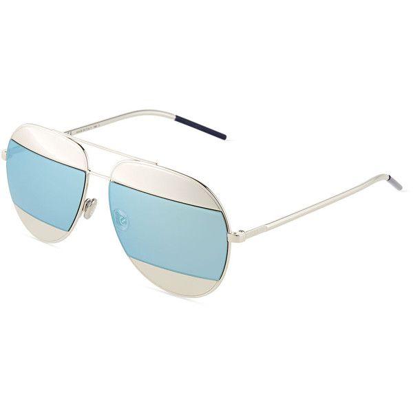 747985e0f61 Dior DiorSplit Two-Tone Metallic Aviator Sunglasses (575 CHF) ❤ liked on  Polyvore