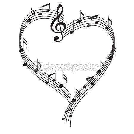 corazon con notas musicales - Buscar con Google   Diseños tatuajes ...