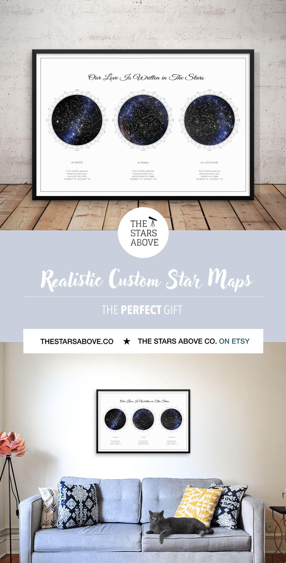 ee2419fcfa205 Custom Star Map 3 in 1, REALISTIC Night Sky Map, Custom Star Poster ...