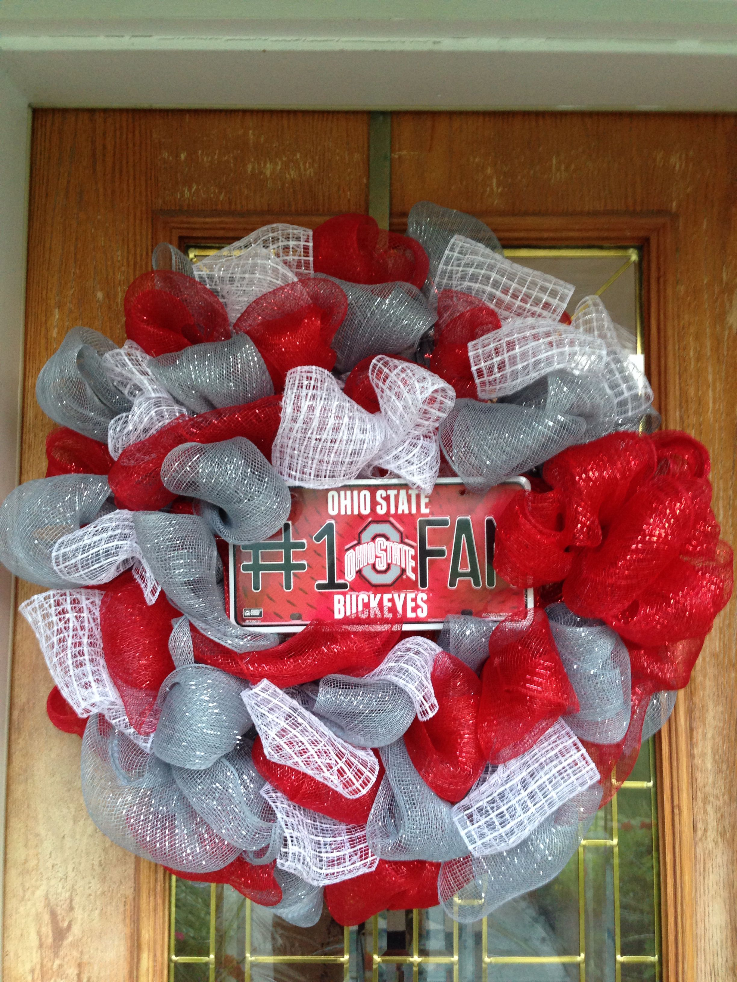GO BUCKS blurlap 18 Ohio State Wreath with Banner red glitter banner