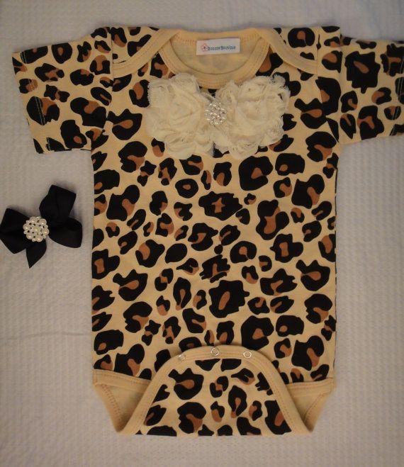 Cheetah leopard print baby girl onesie body by Blossomgirlboutique, $19.95