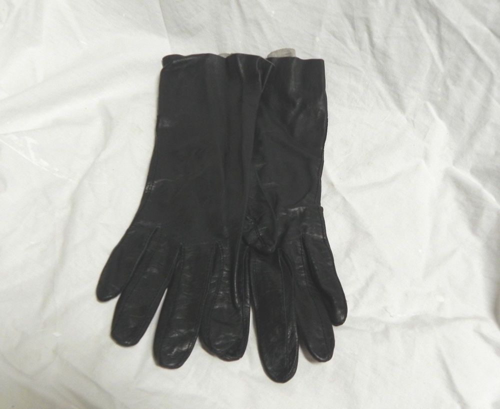 Vintage Women's Black Leather Dress Gloves Size 7