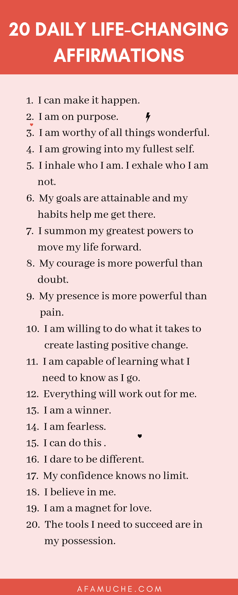 20 Daily life-changing affirmations infographics