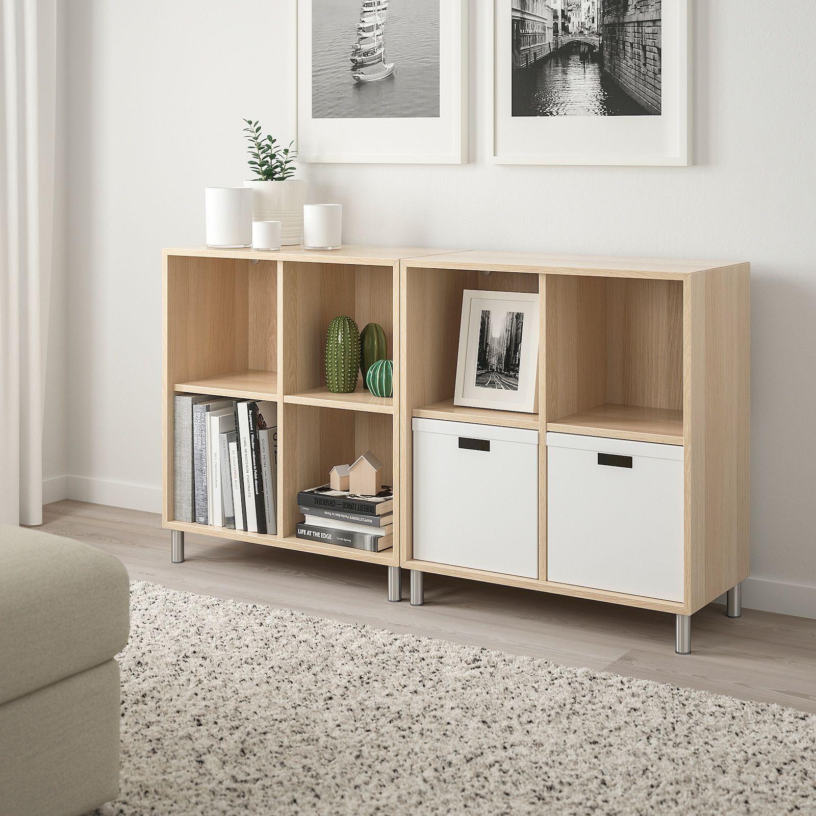 Eket Combinaison Rangement Avec Pieds Effet Chene Blanc Hi 140x35x80 Cm Ikea In 2020 Eket Ikea Eket Ikea
