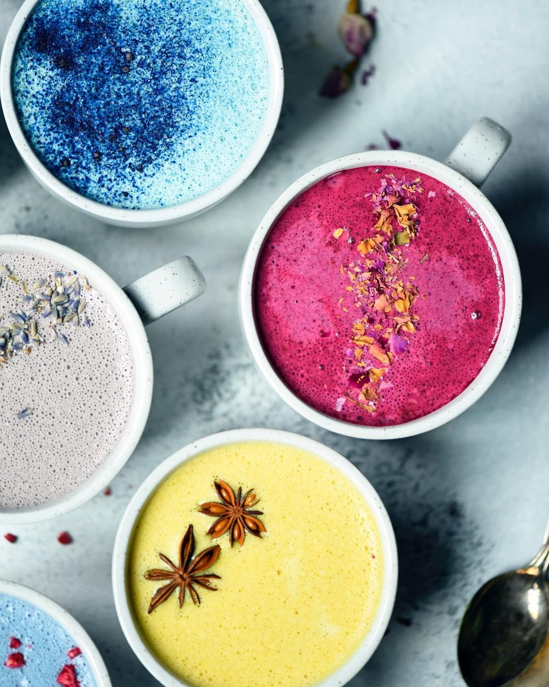 Colorful Lattes = Cashew Milk Used As Base Mix With Each