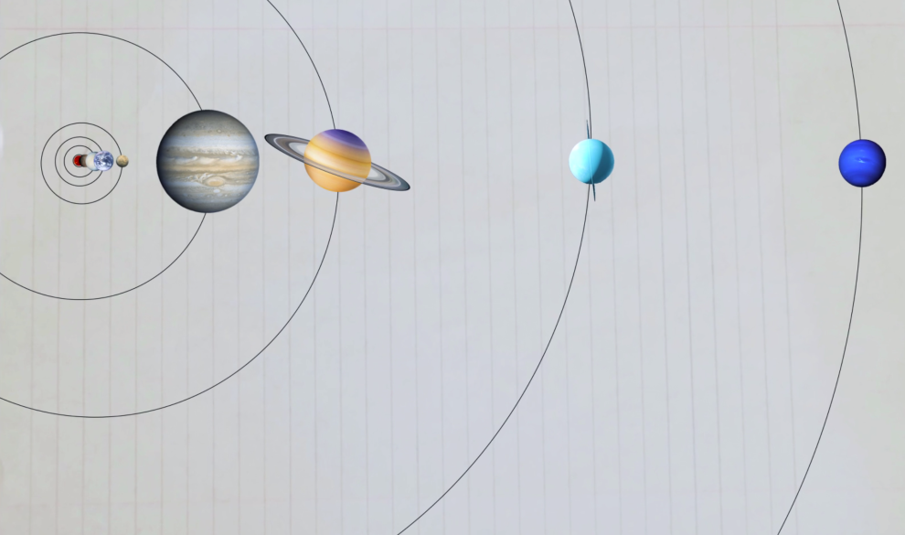 drawings of the planets in our solar system, in order, but not to scale