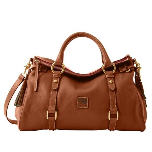 """Dooney & Bourke Florentine Satchel Chestnut One inside zip pocket. Two inside pockets. Cell phone pocket. Adjustable, detachable Strap. Handle drop length: 4.5"""". Strap drop length: 23"""". Zipper closure. Lined. Feet. This bag comes in three sizes and this is the largest one. Bag is gently used, in great condition. Like new. Comes with dust bag.  Will add more photos!.  *** I would be interested in trading for the next size down H 8"""" x W 5.75"""" x L 13"""" in chestnut, brown-t-morrow, or possibly…"""