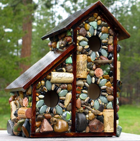 Two for one Spring mosaic birdhouse by WinestoneBirdhouses on Etsy