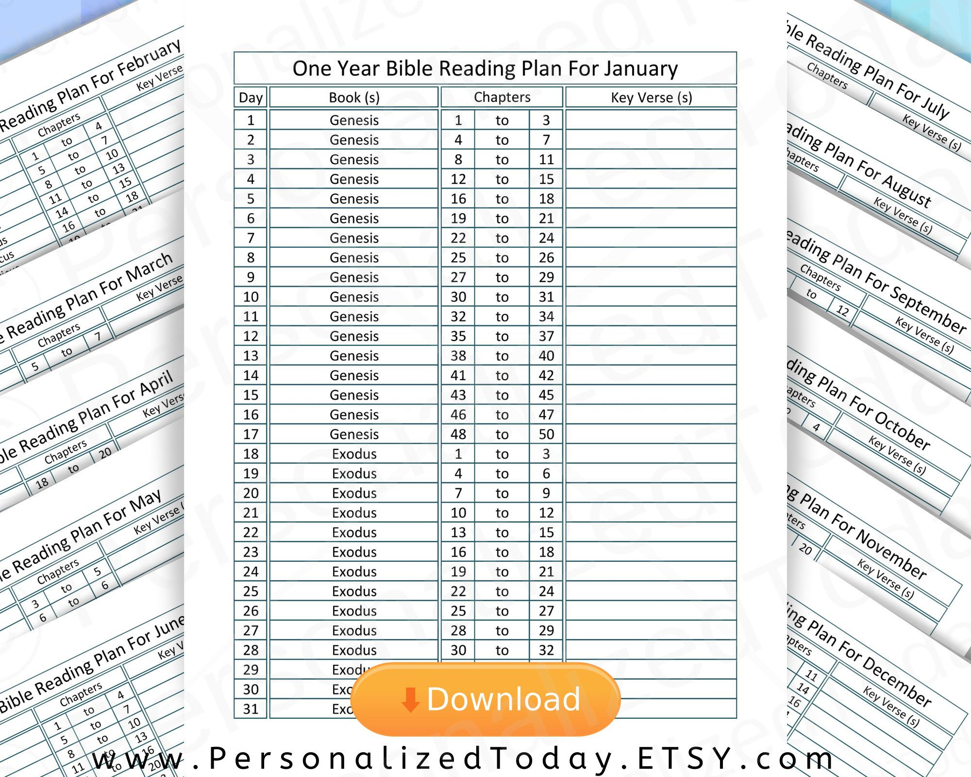 Printable Read Through The Bible In One Year Chronological Etsy Year Bible Reading Plan Read Bible Bible Reading Plan